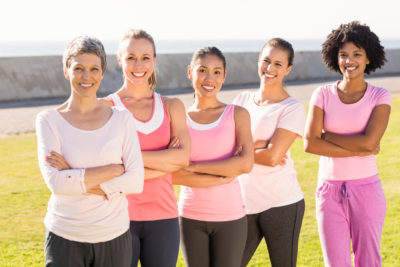 breast cancer image -group of women wearing pink shirts
