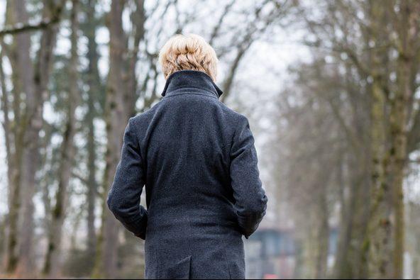 Seasonal affective disorder sad woman walking